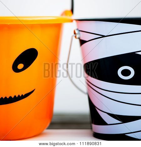Trick Or Treat Empty Halloween Buckets Are Ready For The Candy Treats