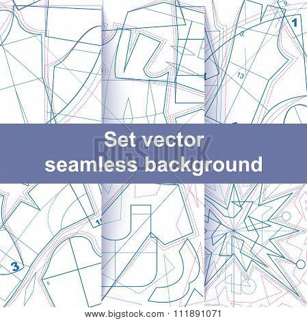 Set seamless sewing pattern texture
