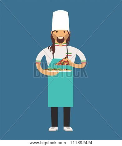 Vector cooking pizza chef vector illustration. Cartoon cook chef icon. Restaurant pizza cook chefs hat cook uniform. Vector cooks, pizza uniform, pizza restaurant chef. Pizza chef cooking restaurant