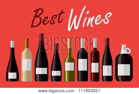 Collection of authentic high quality wines. Vector illustration. Flat design illustration of various bottled wines