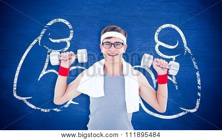 Geeky hipster lifting dumbbells in sportswear against blue chalkboard