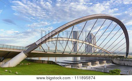 Modern Architecture Design Of A Bridge And Buildings In Putrajaya, Malaysia