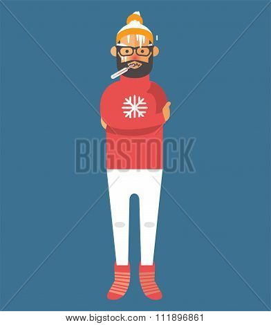 Man illness vector illustration