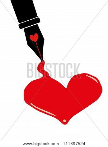 Red Ink Heart For Valentine's Day
