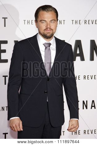 Leonardo DiCaprio at the Los Angeles premiere of 'The Revenant' held at the TCL Chinese Theatre in Hollywood, USA on December 16, 2015.