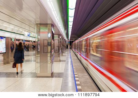 PRAGUE, CZECH REPUBLIC - SEPTEMBER 23, 2015: Modern station of Prague metro - 65.2 kilometres long, founded in 1974, has 3 lines and 61 stations. Its is fifth busiest metro system in Europe.
