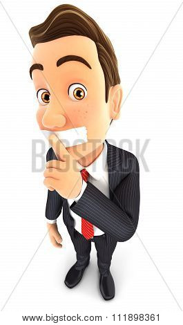 3d businessman silence gesture