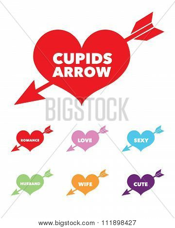 Vector 'Love Struck' Heart Set with Message