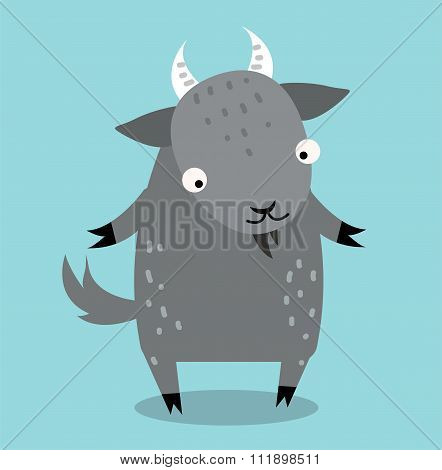 Cute cartoon goat vector illustration