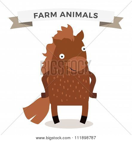 Cute cartoon horse vector illustration