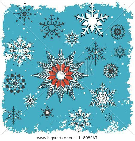 Graphic Snowflakes with blue/teal grunge background and grunge white frame