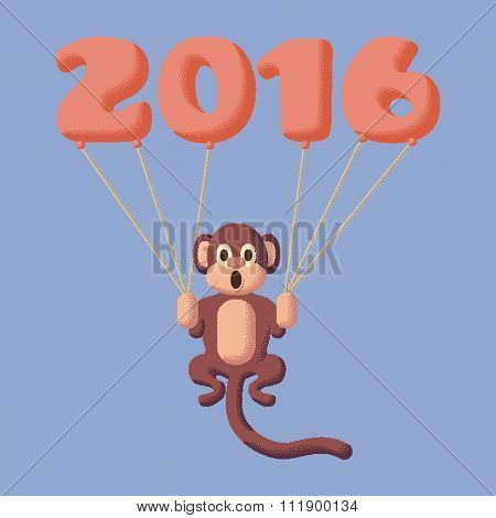 Monkey Dotted Symbol Of 2016 With Balloons. Rose Quartz And Serenity Colors