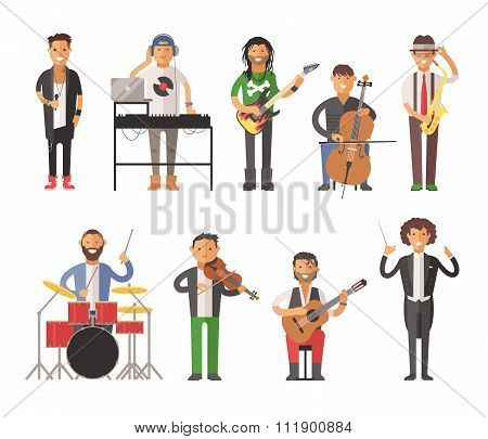 Musicians people flat vector illustration