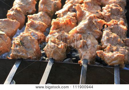 Grilling shashlik on barbecue grill. Juicy pork