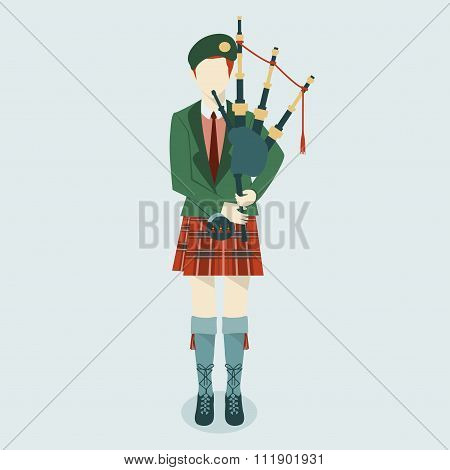 Scottish Bagpiper in uniform flat icon. Scottish tradition.
