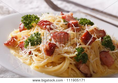 Pasta Carbonara With Bacon And Parmesan Close-up. Horizontal