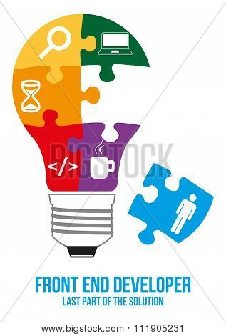 Front End Developer Search Puzzle Design Concept