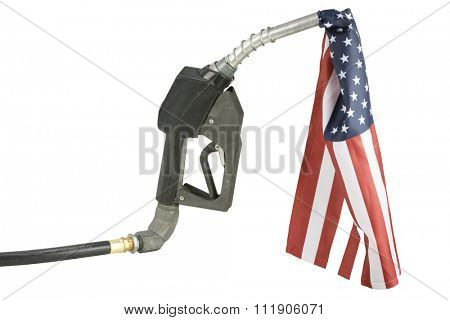 Gas nozzle with American gas concept isolated on white