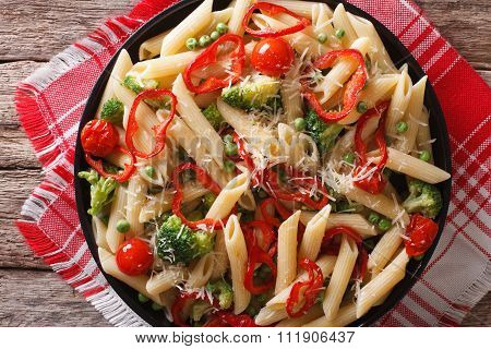 Primavera Italian Pasta With Vegetables Closeup. Horizontal Top View