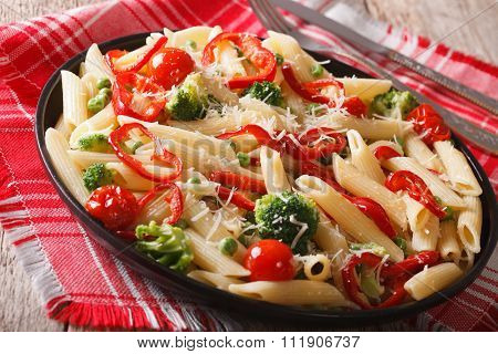 Dietary Italian Pasta With Vegetables Close-up. Horizontal