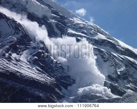 An Avalanche At The Slope Of Dhaulagiri