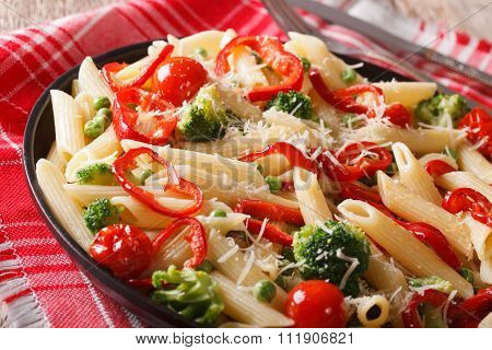 Penne Pasta With Vegetables Close-up On A Plate. Horizontal