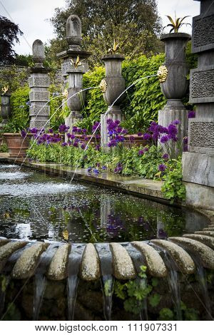 Ornamental garden with water features