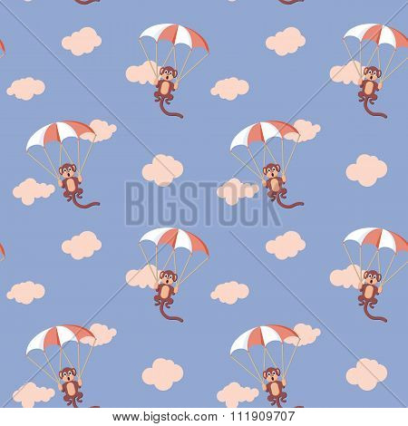 Pattern Of Monkeys With Parachute. Rose Quartz And Serenity Colo