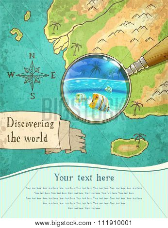 Magnifier Showing Beautiful Nature On The Map, Vector Illustration, Eps10.