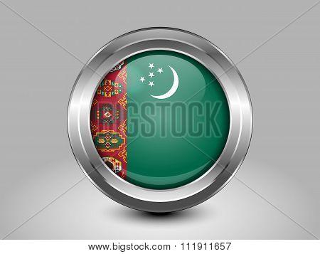 Flag Of Turkmenistan. Metal Round Icon