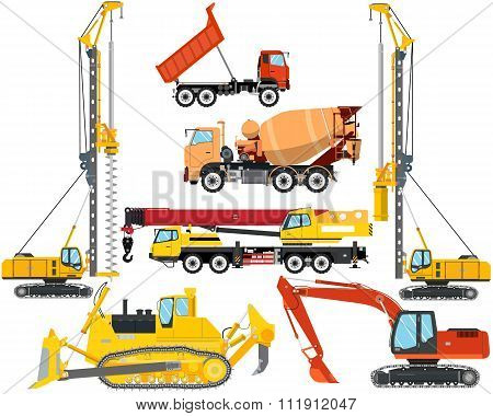 Set the isolation of heavy equipment for construction and repair on a white background. Construction