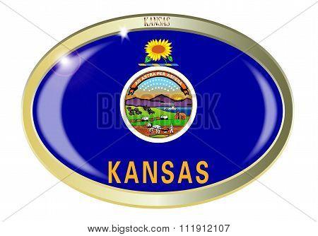 Kansas State Flag Oval Button