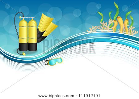 Background abstract blue diving sport yellow aqualung flippers mask frame illustration vector