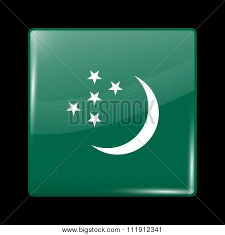 Turkmenistan Variant Flag. Glassy Icon Square Shape