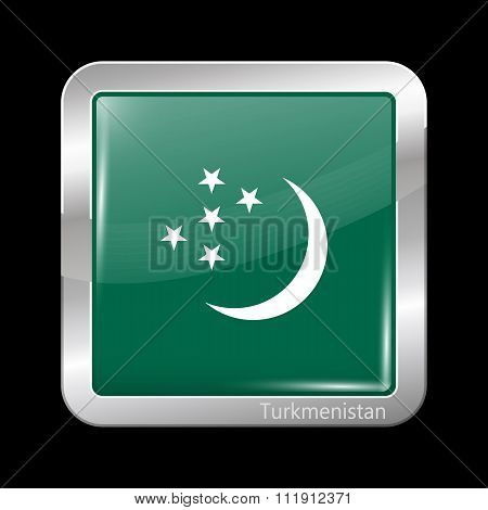 Turkmenistan Variant Flag. Metallic Icon Square Shape