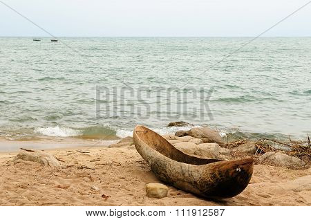 Traditional Dugout Canoe On The Beach On The Lake Malawi
