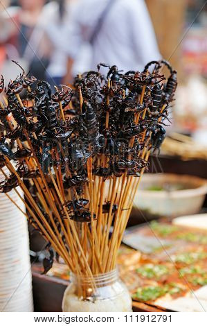 Street food with scorpions