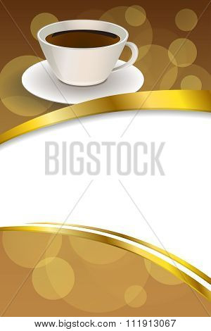 Background abstract beige cup coffee brown vertical gold ribbon illustration vector