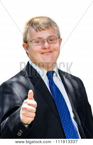 Handicapped Man In Suit Doing Thumbs Up Sigh.
