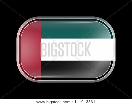 Flag Of United Arab Emirates. Rectangular Shape With Rounded Corners