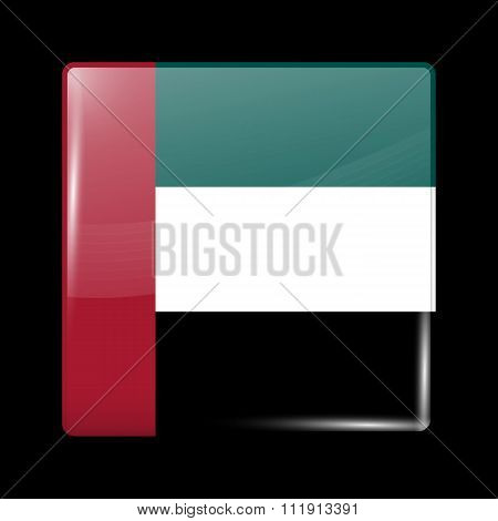 Flag Of United Arab Emirates. Glassy Icon Square Shape