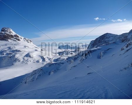 Panoramatic View Of Snow Covered High Mountains