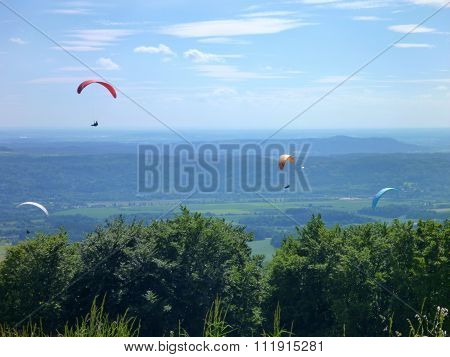 Paraglides Flying At The Sky