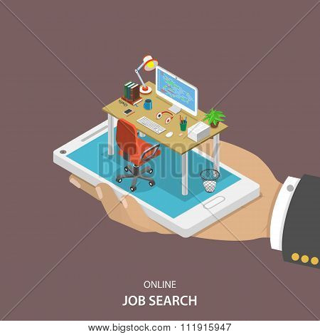 Online job searching isometric flat vector.