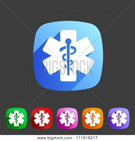 blue medical icon flat web sign symbol logo label set