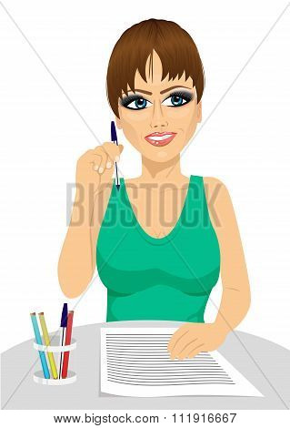 attractive secretary thinking concept holding a pencil