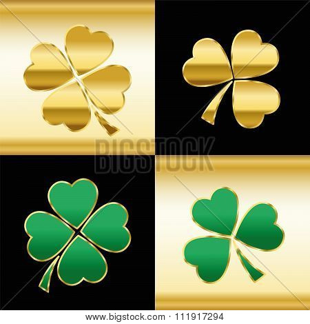 Shamrocks Gold Green Black Pattern