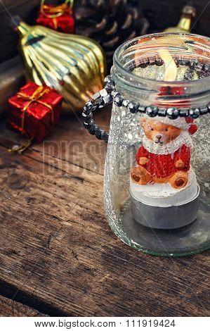 Burning Christmas Candle