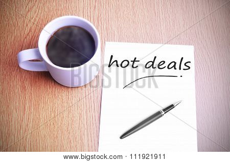 Coffee On The Table With Note Writing Hot Deals