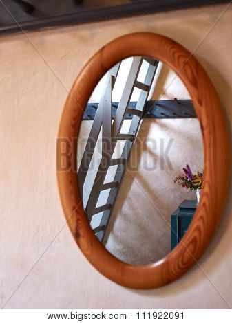 Classical Vintage Oval Wooden Mirror